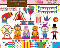 ON SALE INSTANT Download.  Circus train clip art.