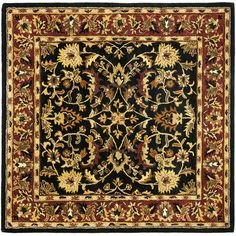 Safavieh Heritage Collection HG953A Handmade Traditional Oriental Black and Red Wool Square Area Rug (10' Square) -- Find out more about the great product at the image link-affiliate link. #AreaRugsRunnersPads