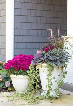 Cabbage and Kale Fall Front Porch Decor - The Lilypad Cottage Purple Mums fall front porch kale and Front Porch Plants, Front Door Planters, Mum Planters, Large Planters, Purple Mums, Fake Plants, Gras, Flower Boxes, Porch Decorating