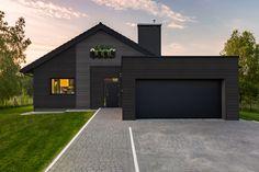 Blue Siding, White Siding, Siding Colors, Modern Garage Doors, Garage Door Styles, Black House Exterior, Exterior House Colors, Building A New Home, Future House