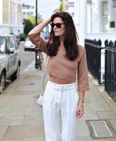 Tan crop + white pants.