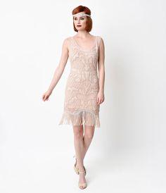 1920s Style Blush Pink Beaded Deco Fringe Short Dress $72.00 AT vintagedancer.com