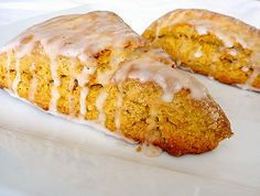 Pumpkin Scones with Spiced Glaze by Brown Eyed Baker