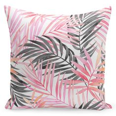 Tropical outdoor pillow covers of Beverly Hills Decor, Pink- Black Palm leaf pillow cover, Outdoor cushion cover palm leaf print Modern Pillow Covers, Outdoor Cushion Covers, White Cushions, Modern Pillows, Decorative Pillows, Tropical Animals, Pillowcase Pattern, Pink Leaves