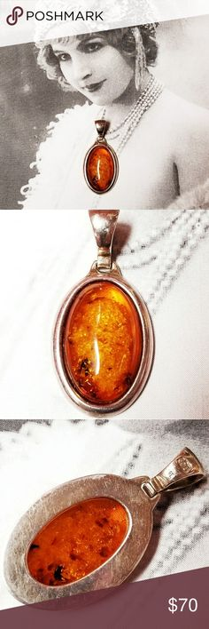 "Vintage Sterling and Baltic Amber Pendant Vintage Sterling silver and Baltic Amber pendant. Measures 1.5"" long and .75"" wide. Russian Sterling marks in bale. Excellent vintage condition reasonable offers welcome and accepted. Add to a bundle and I'll offer you a great deal ❤ Vintage Jewelry Necklaces"