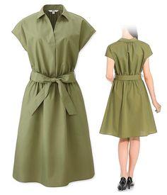 336ec4b4758e4 Robe-chemise à manches courtes - Casual et Elégant - Vert Kaki - UNIQLO