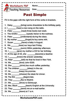 Past Simple - Irregular Verbs - Worksheets PDF English Grammar For Kids, Teaching English Grammar, English Worksheets For Kids, Verb Worksheets, English Writing Skills, English Vocabulary Words, Learn English Words, Grammar Lessons, English Lessons
