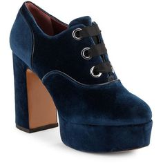 Marc Jacobs Beth Lace-Up Velvet Platform Booties (5,920 MXN) ❤ liked on Polyvore featuring shoes, boots, ankle booties, heels, blue, navy blue, heeled boots, lace up platform booties, blue boots and navy booties