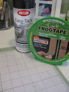 Making cricut mat sticky again tape border of mat with painters tape, spray with EasyTack, let dry 5 minutes