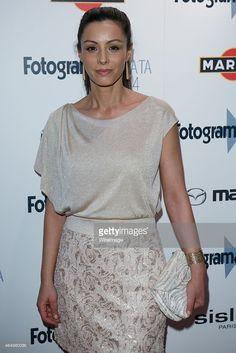 Ana Álvarez en los Fotogramas de Plata 2014 con vestido de Laura Bernal, joyas de Daniel Espinosa y bolso de Barada Luxury