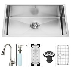 VIGO 30-in x 19-in Stainless Steel Single-Basin Undermount Commercial Kitchen Sink All-In-One Kit