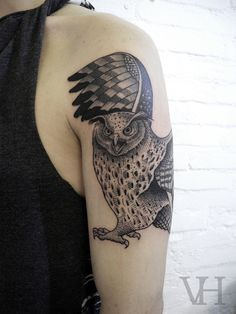 owl by valentin hirsch #shoulder #arm #tattoos