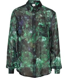 REISS-JOSH:PRINTED OVERSIZED SHIRT EMERALD