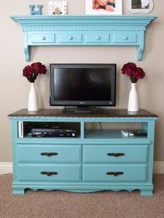 CraftyMomz: Old Dresser = Entertainment Center!!! May have to do tho for our upstairs livingroom!