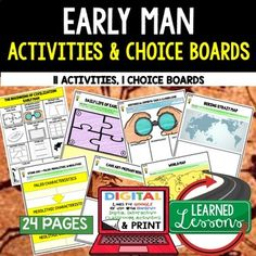 Early Man Choice Board Activities (Paper and Google Drive Versions) ➤Early Man, Choice Boards, World History Graphic Organizers, World History Digital Interactive Notebook, World History Summer School, World History Google Activities →VISIT MY STORE AND FOLLOW TO GET UPDATES WHEN NEW RESOURCES ARE ADDED →Also Included in World History MEGA BUNDLE Part 1→Also Included in World History Choice Boards BUNDLE Part 1→Also Included in Beginning of Civilization Early Man and River...