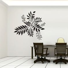 Superb Cool Wall Decals | Flower Feature Wall Art Decals #coolwalldecals  #blackleaveschair #table Part 22