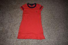 Ralph Lauren Grils Red Navy Blue T Shirt Dress With Pocket Navy Blue Pony Size 6 #RalphLauren #TShirtDress #DressyEveryday