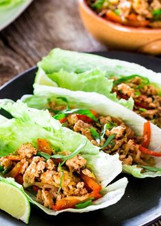 Thai Chicken Lettuce Wraps - Jo Cooks-Thai Chicken Lettuce Wraps - ready in 15 minutes from start to finish, perfect quick summer lunch. These Thai-style lettuce wraps will please your taste buds, super healthy and delicious. Thai Chicken Lettuce Wraps, Lettuce Wrap Recipes, Asian Lettuce Wraps, Veggie Wraps, Low Carb Recipes, Diet Recipes, Cooking Recipes, Healthy Recipes, Healthy Meals