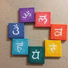 SALE - Seven Chakras Mini Canvas Paintings / wall Decor Yoga India / Hippy watercolor / Om Handmade