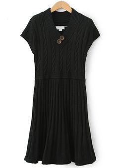 Black Pleated V-neck Mini Sleeve Wrap Wool Dress