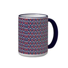 Red, White, & Blue Dragon Scale Coffee Mug