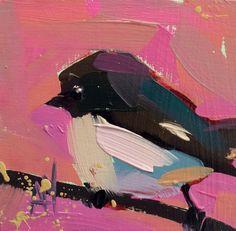 Tom Tit original bird oil painting by Angela Moulton 4 x 4 inch on birch panel