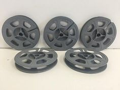 "Lot of 5 Vintage Kodak 8mm 3"" 50ft Plastic Film Reels USA Made Gray"