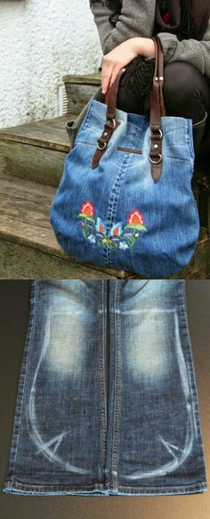 Good Photographs Jeanstaschen - Thoughts I love Jeans ! And even more I love to sew my own, personal Jeans. Next Jeans Sew Along I'm like Artisanats Denim, Denim Purse, Denim Shorts, Bling Belts, Denim Ideas, Denim Crafts, Jean Crafts, Old Shirts, Old Jeans