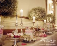 Old-world European: Candy table. Candelabras, babys-breath trees. Event design by Soha Lavin of CountDown Events Vancouver. {Pacific Ballroom of The Fairmont Hotel Vancouver}