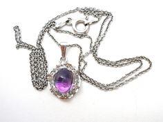 Amethyst Gemstone Sterling Silver Necklace Vintage