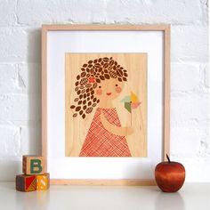 Fab.com   Pinwheel Girl Wood Print