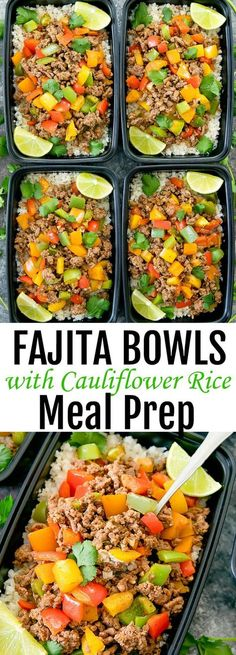 with Cauliflower Rice Meal Prep Beef Fajita Bowls with Cauliflower Rice Meal Prep. Low carb, healthier and easier version of fajita bowls.Beef Fajita Bowls with Cauliflower Rice Meal Prep. Low carb, healthier and easier version of fajita bowls. Lunch Meal Prep, Meal Prep Bowls, Healthy Meal Prep, Healthy Eating, Healthy Lunches, Eating Raw, Weekly Meal Prep, Paleo Meal Plan, Dinner Meal