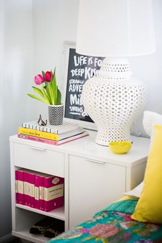Nightstand table with lots of storage helps keeps your bedroom clutter organized.