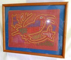 Kuna Mola Frame Orange Ornithology Large Bird Vintage Folk Art Needlework Panama in Panama Orange Painting, Hispanic Heritage, Elegant Homes, Vintage 70s, Textile Art, Folk Art, Needlework, Applique, Panama