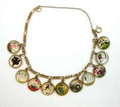 I WANT!!! Vintage 14k Gold Reverse Crystal Charm Bracelet