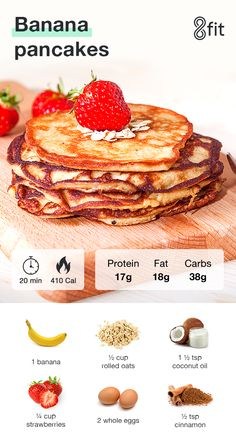 Explore our healthy and nutritious recipes which could help you reach your fitness goals: chickpea salad, banana pancakes and vegetable omelet. Three Quick Recipes That Will Help You Reach Your Goals - Easy Banana Pancake Recipe Easy Banana Pancake Recipe, Pancakes Easy, Banana Oatmeal Pancakes, Healthy Banana Pancakes, Pancake Recipes, Protein Pancakes, Waffle Recipes, Healthy Breakfast Recipes, Healthy Snacks
