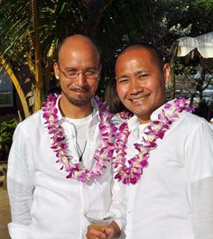 LGBT Couple in Oahu on their wedding day at Tiki Moon Villas