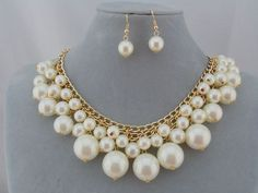 Gold With Cream Pearl Cluster Necklace Earrings Set Fashion Jewelry NEW #Allegro