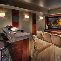 theater room - Josh loves bar behind couch