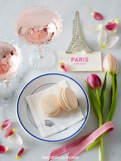 A dreamy blend of French tulips with a pop of pink champagne. #ParisAmour