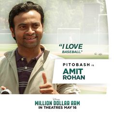 Meet Amit: J.'s kind-hearted assistant who loves the game of baseball almost as much as he loves his home country of India. Million Dollar Arm, Hk Movie, Love Him, My Love, Disney Live, Dreamworks, Pixar, Tv Shows, Arms