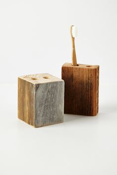 Make this out of scrap wood and drill bits. Save $20. Timber Trail Toothbrush Holder - Anthropologie.com