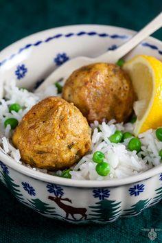 Tandoori chicken meatballs served over rice for dinner