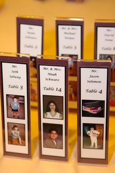 placecards made from pictures of bride and groom at ages tables). Plastic frames can be used for guests' own photos taken at photo booth. How To Make Photo, Bride Pictures, Girls Dream, Table Numbers, Photo Booth, Markers, Place Cards, Frames, Groom