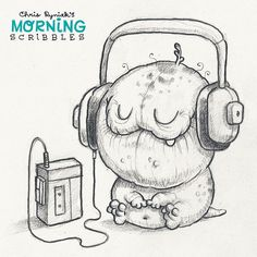« What do you think this critter is listening to?  #morningscribbles »