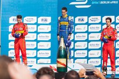 #press at #podium of #formulae #berlin #sebastienbuemi became the winner in Berlin. #danielabt and #lucasdigrassi from #abtschaeffleraudisport  achieved #doublepodium.
