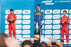 #press at #podium of #formulae #berlin #sebastienbuemi became the winner in Berlin. #danielabt and #lucasdigrassi from #abtschaeffleraudisport  achieved #doublepodium.