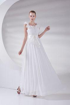 Ivory Chiffon V-Neck A-Line Ankle Length Wedding Dress $133.99 ...