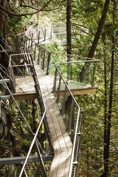 Viewing platform at Cliffwalk in the Capilano Sluspension Bridge Park in Vancouver, British Columbia, Canada