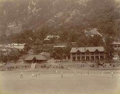 British officials playing cricket, Nainital, 1899